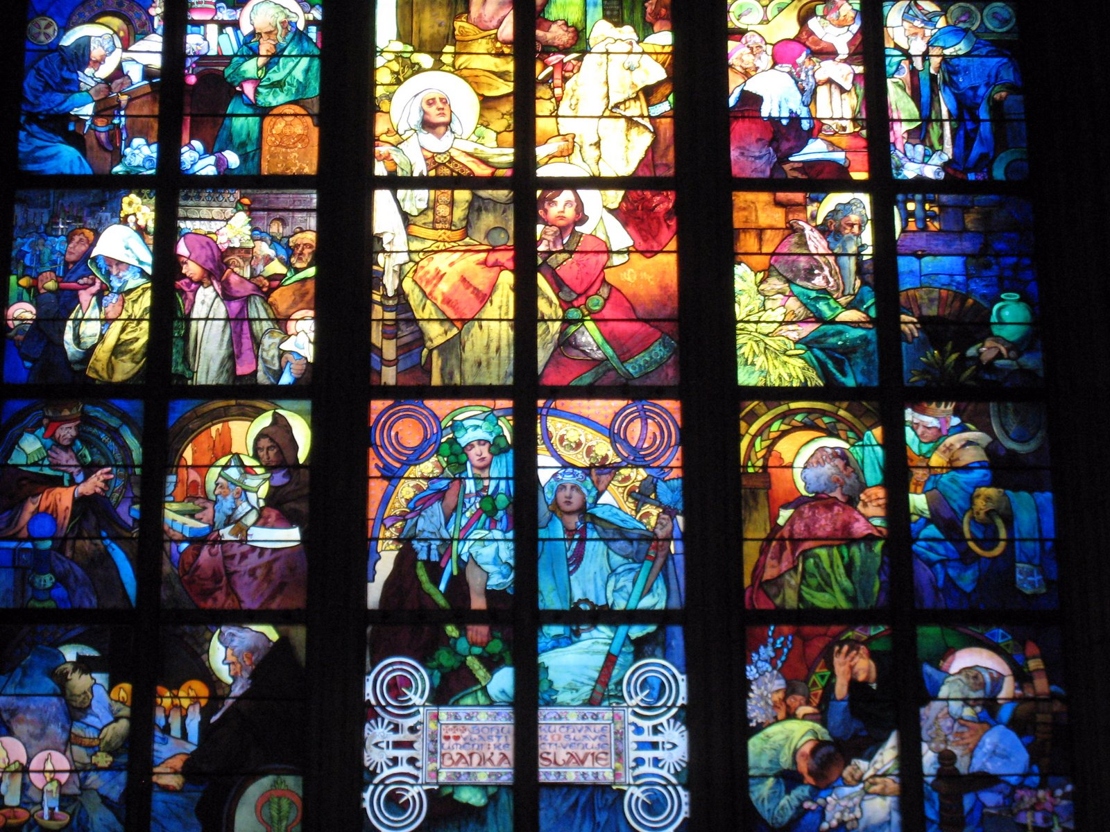 St vitus 39 s cathedral alfons mucha art nouveau stained for Art glass windows